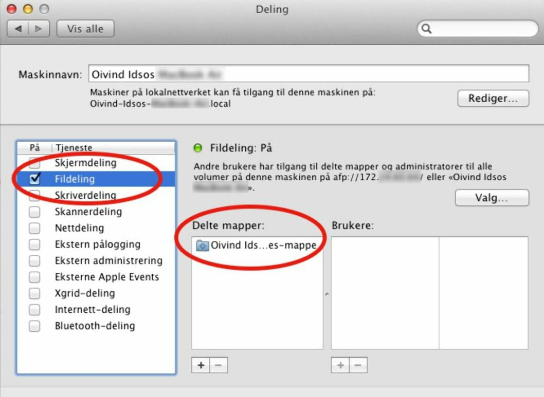 Slik deler du filer og mapper i OS X