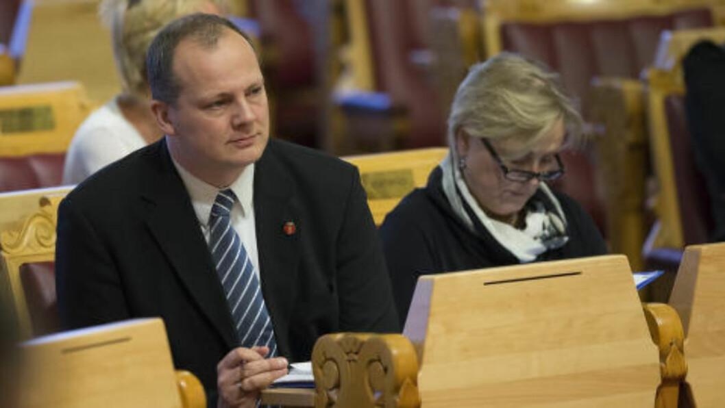 <strong>HAR ANSVARET:</strong> Frps Ketil Solvik-Olsen må nå forsvarer DLD, som Frp opprinnelig var imot. Foto: Terje Bendiksby / NTB scanpix.