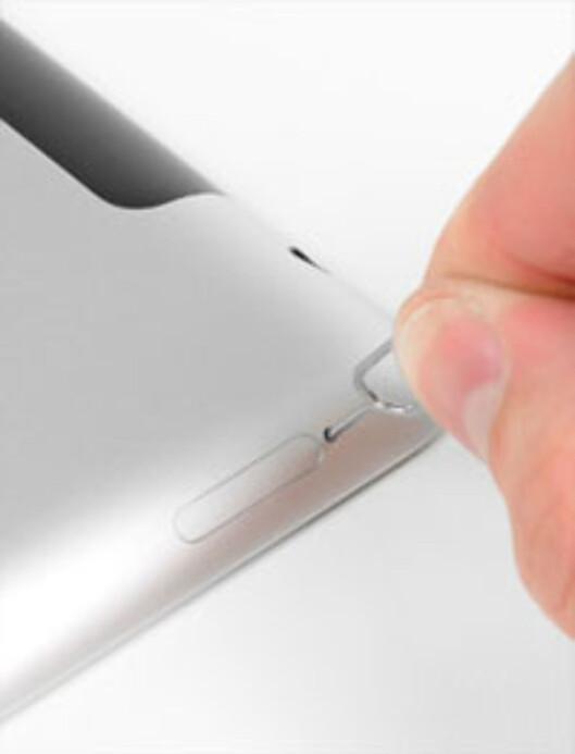 På de norske iPadene (og den amerikanske AT&T-versjonen) får du tilgang til SIM-kortet her.