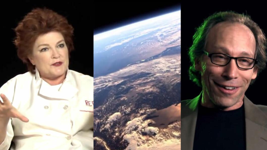 <strong>VILLEDET:</strong> Kate Mulgrew, kjent fra «Orange Is the New Black» og «Star Trek: Voyager», hevder hun ble villedet da hun deltok i en dokumentar om at jorda er universets sentrum. Fysiker Lawrence Krauss klør seg i hodet over hvorfor han i det hele tatt er med. Foto: Promo og skjermdumper fra traileren til «The Principle»