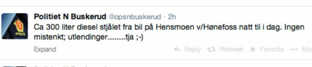 <strong>MELDINGEN:</strong> Denne meldingen la politiet i Nordre Buskerud ut på twitter.