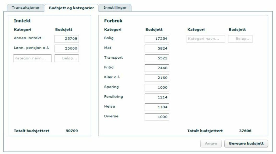 Du kan selv endre budsjettpostene hvis du ikke er enig i tallene som Nordea har beregnet ut ifra ditt tidligere forbruk. Foto: Nordea.no