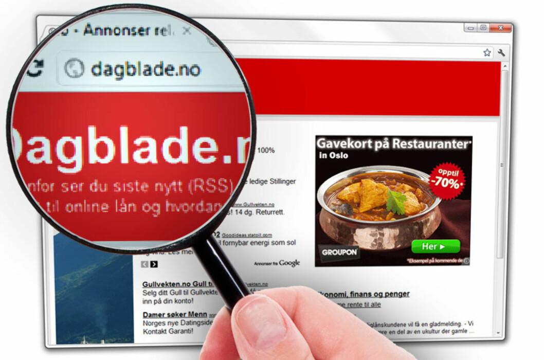 <strong>OJDA:</strong> Skrev du Dagblade.no i stedet for Dagbladet.no? Da blir du sendt til denne siden, som bare er en samling annonser.  Foto: Ole Petter Baugerød Stokke