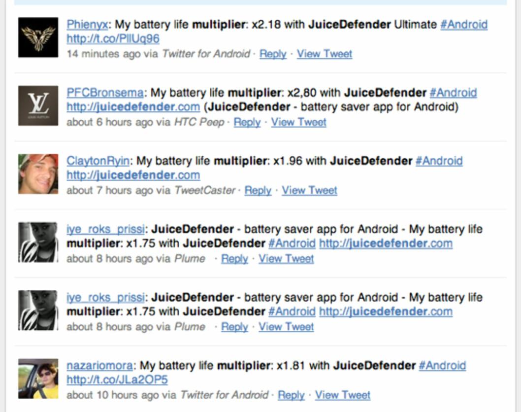JuiceDefender lar brukerne dele hvor mye de har økt batterilevetiden på Twitter.