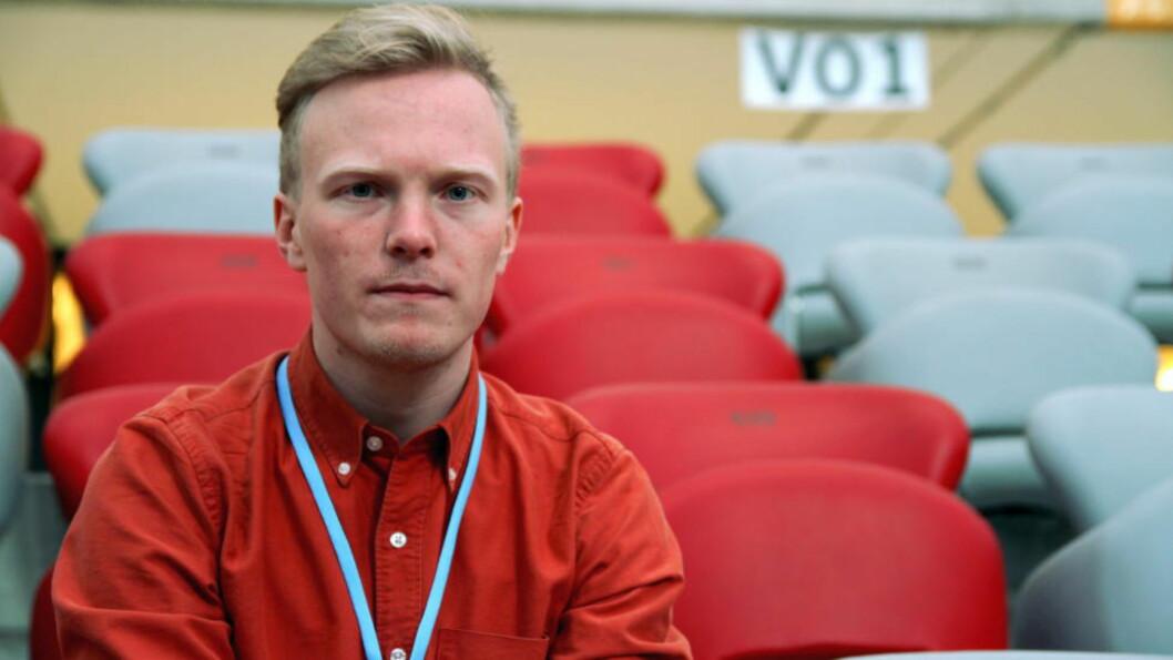 <strong>FØRE VAR:</strong> Natur og Ungdom-leder Arnstein Vestre frykter klimaskeptikerne i Frp. Her er han fotografert i forbindelse med klimaforhandlingene i Warszawa. Foto: Natur og Ungdom