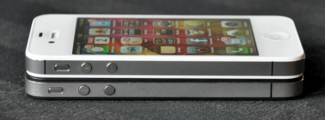 De er neste identiske, men den nye antennedesignen i iPhone 4s gjør at knappene og bryteren er forskjøvet noe i forhold til fireren. Det gjør også at noe ekstrautstyr (spesielt deksler) ikke vil bli 100% kompatibelt. Foto: Pål Joakim Olsen