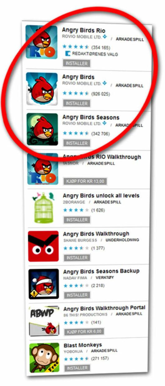 <strong>MYE RART:</strong> Søker du etter Angry Birds, tidenes mest populære mobilspill, får du mange treff på Android Market. Men kun tre av dem er det faktiske spillet.