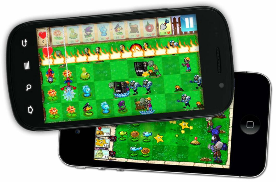 <strong>FALSK:</strong> Den øverste versjonen, som er den du finner på Android, er ikke det ekte Plants vs. Zombies-spillet. Versjonen under finner du på iPhone, og kommer fra utvikleren selv.  Foto: Ole Petter Baugerød Stokke