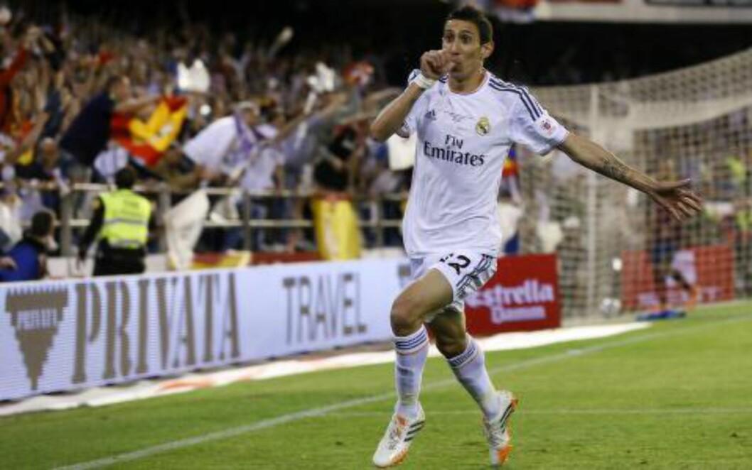 <strong>1-0:</strong> Real Madrids Angel di Maria sendte hovedstadslaget i ledelsen i første omgang. Foto: AFP PHOTO / CESAR MANSO / NTB Scanpix
