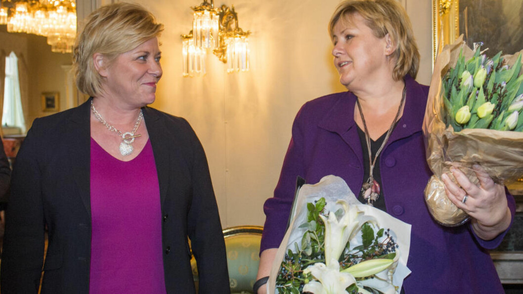 <strong>PENSJON:</strong> Finansminister Siv Jensen og Statsminister Erna Solberg har ikke klart å løse den kommunale pensjonsfloken. Foto: Fredrik Varfjell / NTB scanpix