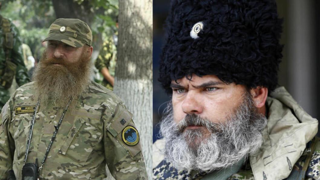 <strong>IKKE LIKE:</strong> Mannen til venstre er angivelig fotografert i Georgia i 2008, og bærer merket til de russiske spesialstyrkene. Mannen til høyre er avbildet flere steder i Slavjansk  og Kramatorsk de siste ukene.