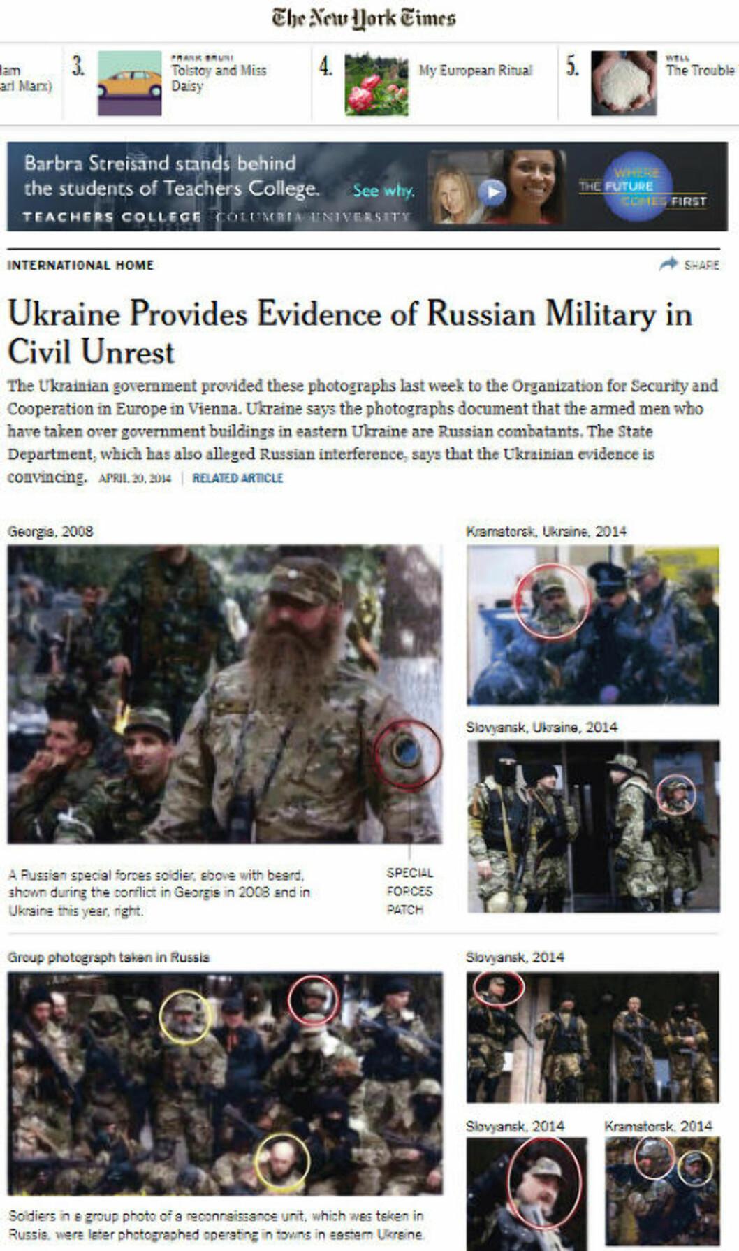 <strong>STØTTES I USA:</strong> Slik er bildebevisene presentert, bla. i avisa The New York Times. USAs utenriksdepartement har selv kommentert saken, og mener bildene er troverdig bevis på russisk innblanding. Faksimile: NYtimes.com