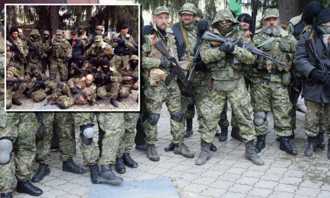 <strong>SAMME STED:</strong> Det innfelte bildet til venstre viser den mystiske gjengen posere til et lagbilde - angivelig av et russisk rekognoseringslag tatt i Russland før de dukker opp i Ukraina. Det store bildet er tatt utenfor den okkuperte politistasjonen i Slavjansk 12. april. Brosteinen og trærne i bakgrunnen er det samme.En grå plate på bakken synes i begge bildeseriene. Helt lik påkledning, hodeplagg og midlertidige kjennetegn som flekker og utrustning gjør det vanskelig å tro at bildene er tatt i forskjellige land på ulike tidspunkt. Foto: AP/MaximDondyuk/NTB Scanpix