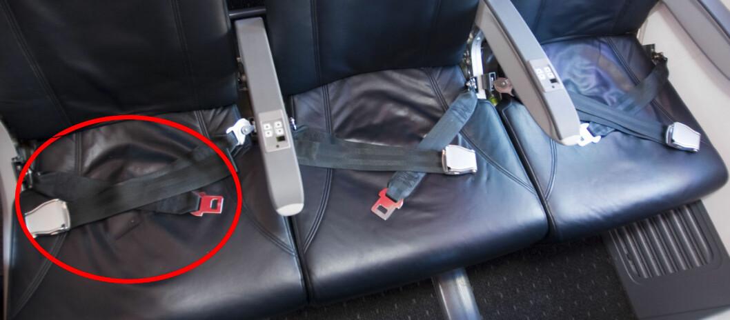 <strong><b>STJAL SETEBELTER:</strong></b> I en periode var det populært blant enkelte å bruke setebelte fra fly som belte til buksene. Foto: Per Ervland