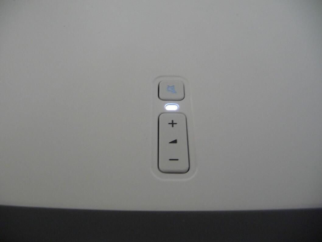 Ekte minimalisme...  Dette er de eneste fysiske knappene på Sonos. All styring skjer altså via app eller datamaskin. Foto: Øyvind P