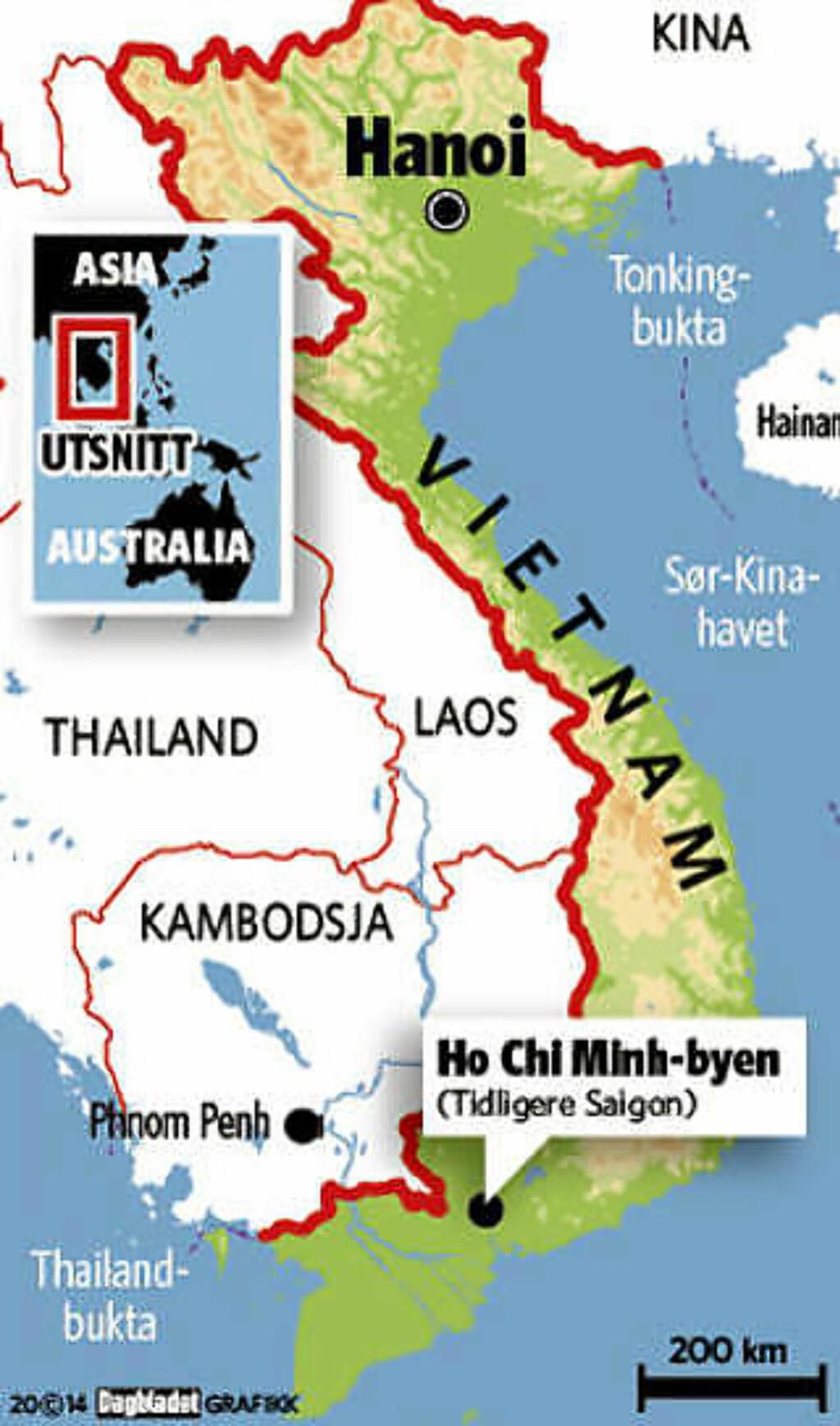 HO CHI MINH-BYEN: Tidligere Saigon, den største byen i Vietnam. Grafikk: KJELL ERIK BERG