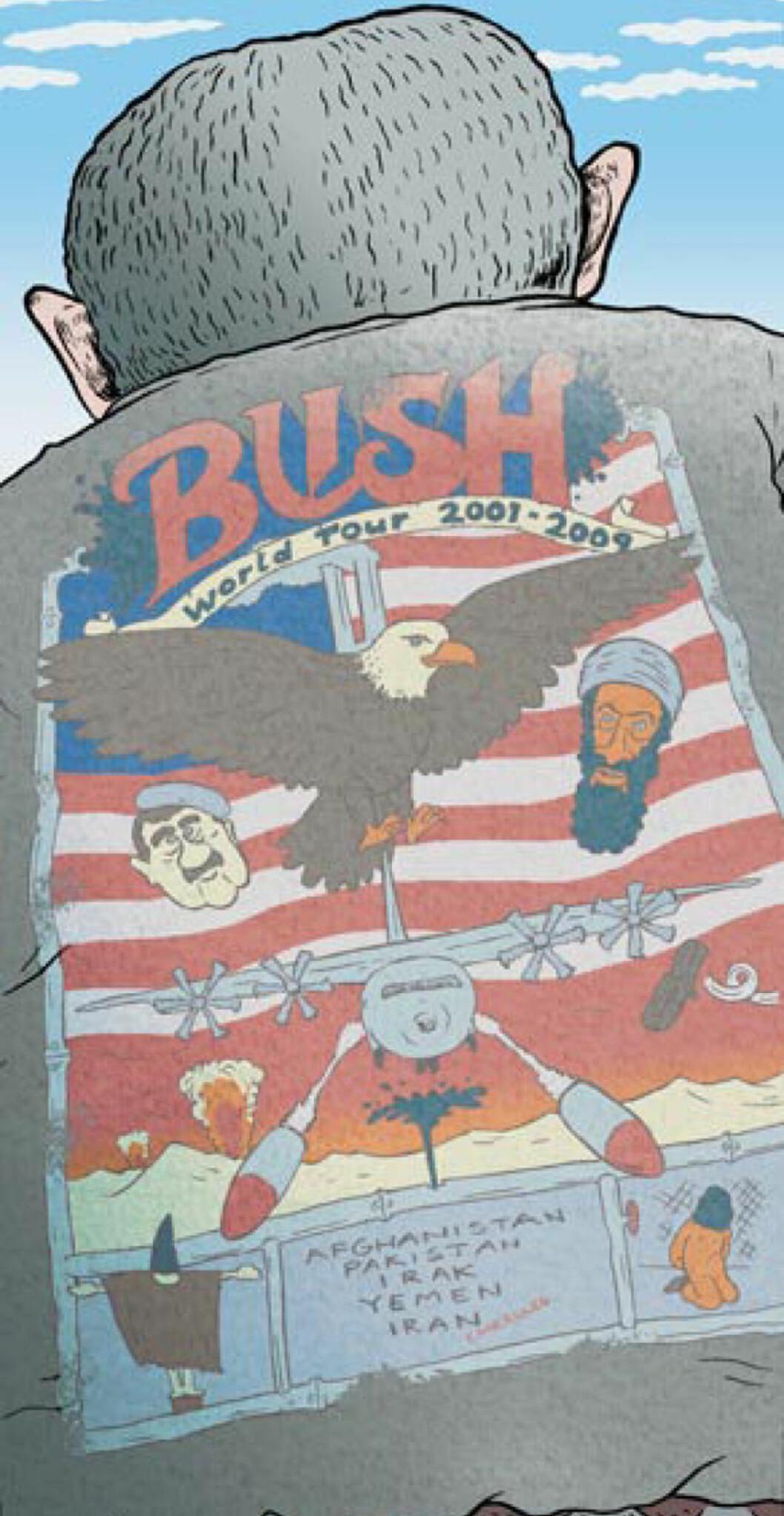<strong>BUSHTOUR:</strong> Den 20. september 2001 taler president George W. Bush til kongressen. Det er ni dager siden flyene krasjet inn i World Trade Center. Illustrasjon: Flu Hartberg