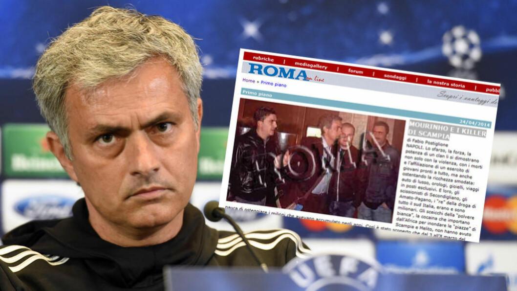 <strong>DRAS INN I MAFIASAK:</strong> Dette bildet av Jose Mourinho og tre personer fra italiensk mafia skal brukes i retten for å bevise at italienerne ikke kunne begå et drap i Napoli samme kveld. Bildet er tatt i Barcelona 5. mars. Drapet skjedde samme dag i Napoli. Foto: NTB Scanpix. Faksimile: Roma.