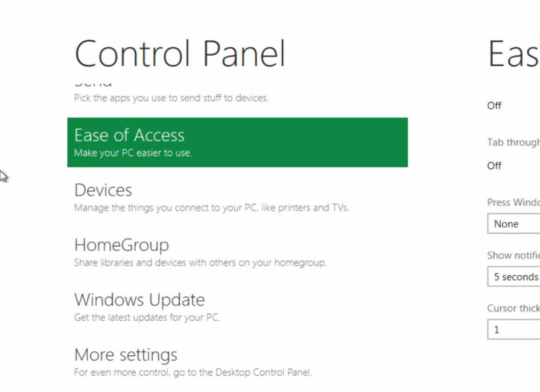 Slik ser kontrollpanalet ut i Windows 8. Metro-stilen gjennomsyrer også dette.