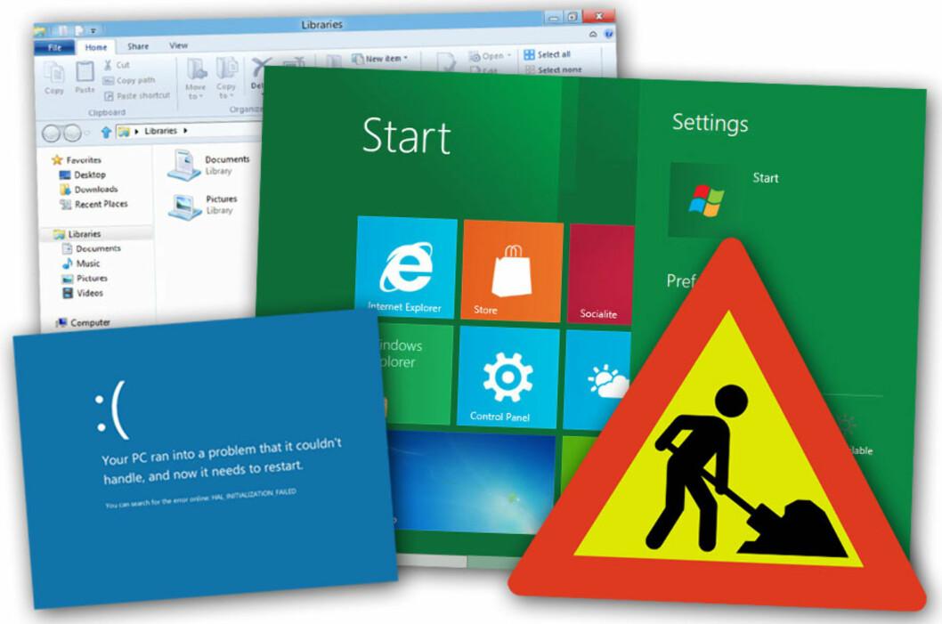 <strong>UNDER ARBEID:</strong> Windows 8 er langt fra ferdig. Men du kan prøve det allerede nå, om du er nysgjerrig. Forbred deg på en shizofren opplevelse.  Foto: Ole Petter Baugerød Stokke