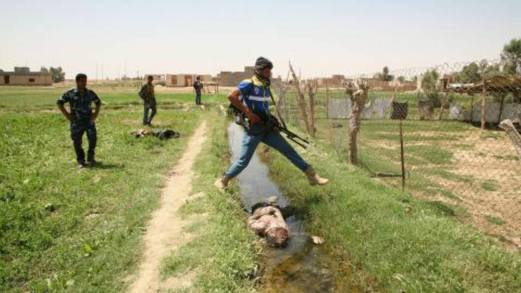 <strong>VOLDSBØLGE:</strong>  Så godt som daglig er det dødelige angrep og skuddepisoder i Irak. Her går et medlem av Iraks hær over elva og en død mann i byen Ramadi, vest for hovedstaden Bagdad. Foto: Azher Shallal/Afp/Scanpix