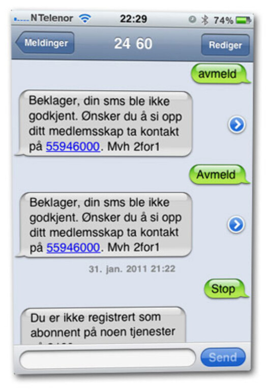 """<strong>VANSKELIG:</strong> Enkelte brukere har hatt problemer med å melde seg ut. Som denne SMS-rekken viser. Brukeren får beskjed om å sende \\\""""Avmeld\\\"""" til nummeret for å stanse abonnementet, men det fungerer dårlig."""