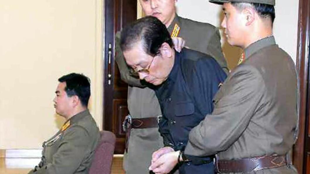 <strong>OPPGJØRETS TIME:</strong> Jang Song-thaek dømmes til døden 12. desember. Foto: Rodong Sinmun / EPA / NTB Scanpix