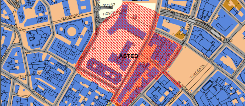 Store deler av Oslo sentrum er avstengt etter bombeangrepet på regjeringskvartalet. Foto: Oppdatert åstedskart fra Politiet
