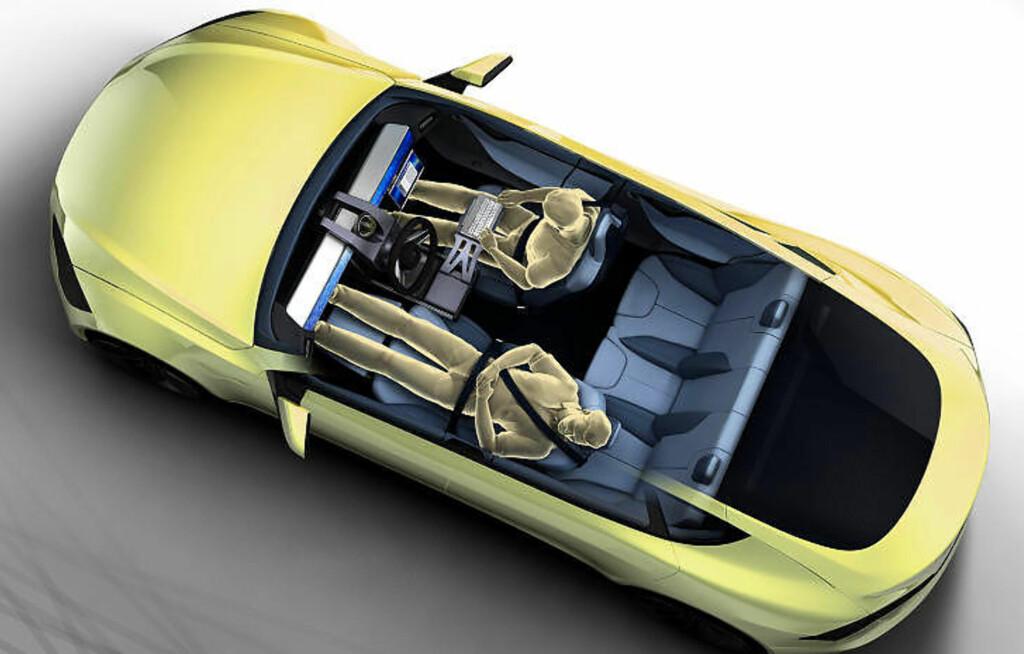 FRAMTIDSBILEN? Sveitseren  Frank M. Rinderknecht kommer til å vise sin selvkjørende bil i Genève i mars. Denne skissen gir en indikasjon på hvordan han synes den skal være. Foto: RINSPEED