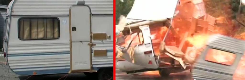 <strong>FØR OG ETTER:</strong> Dette er bare en test, men hver år brenner 30-40 campingvogner i Norge. Foto: If sikkerhetssenter
