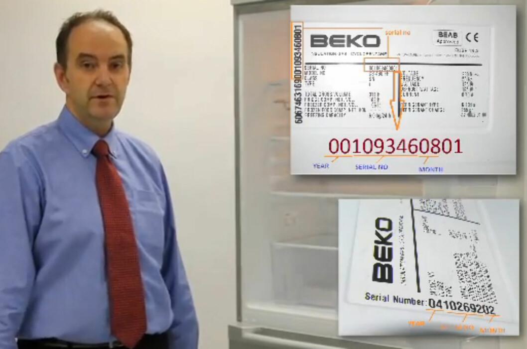 Teknisk sjef i Beko viser hvordan du sjekker serie- og modellnummer på kombiskapet ditt i videoen nederst i artikkelen.  Foto: YouTube.com/Beko