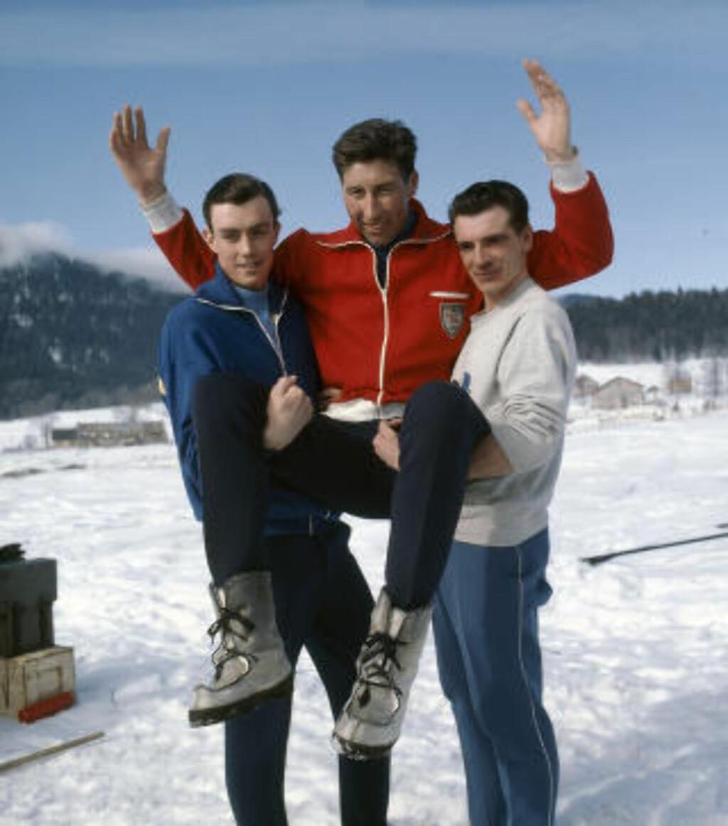 NORSK OVERMANN:  Harald Grønningen klarte til slutt å beseire den sterke finnen. Her etter OL-gullet på 15km i 1968 med sølvvinner Eero og sveriges Gunnar Larsson. FOTO: NTB / Scanpix.