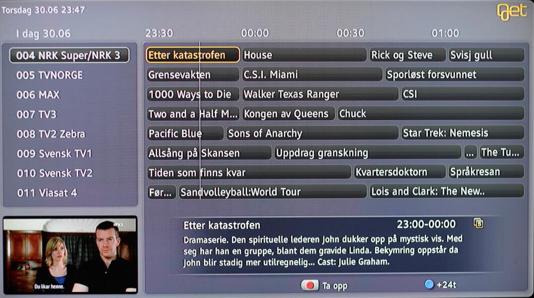 <strong><B>NYE TIDER:</strong></B> Slik ser Gets redesigna TV-tablå ut. Foto: Øivind Idsø