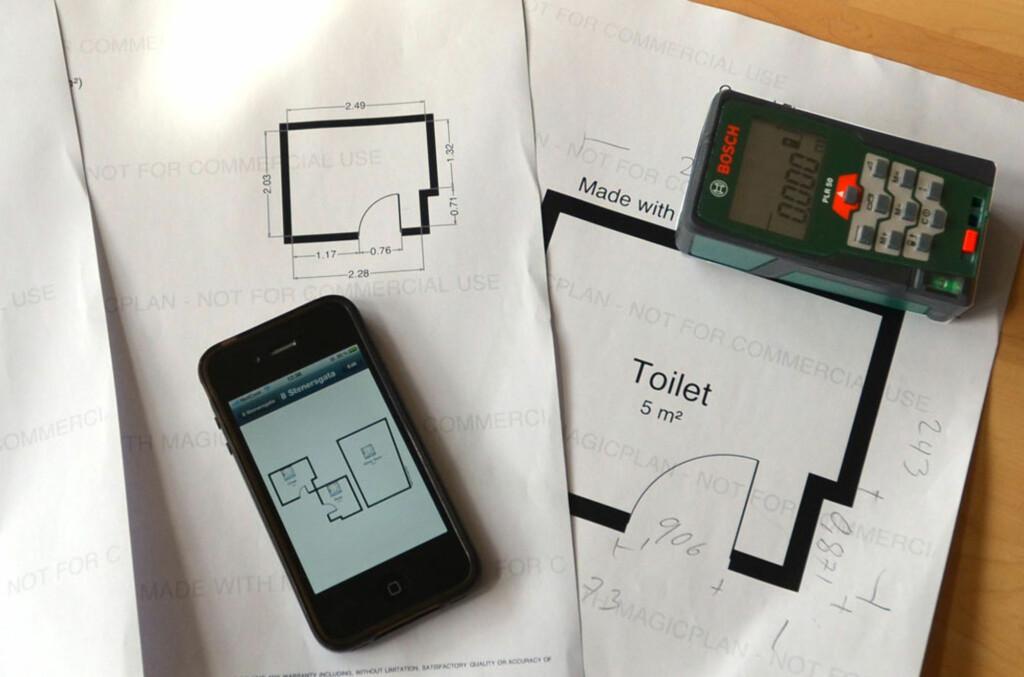 Med en iPhone og et nøyaktig måleverktøy kan du ganske enkelt lage flotte romtegninger Foto: Brynjulf Blix