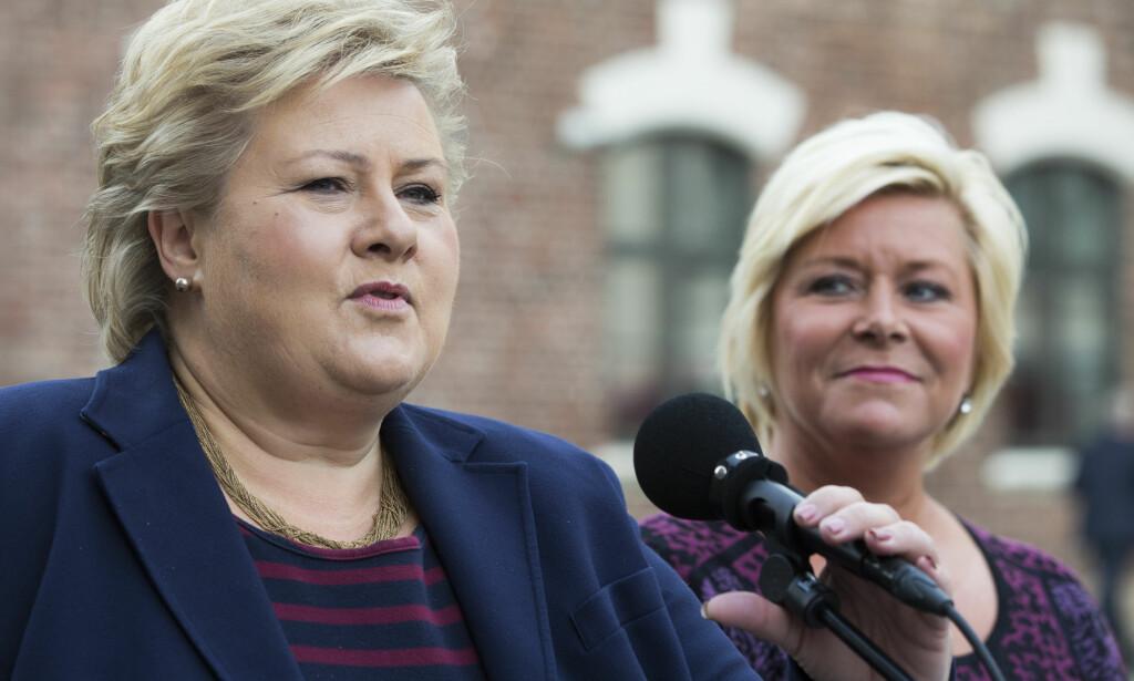 ØKONOMISK UFØRE: Statsminister Erna Solberg (t.v.) og finansminister Siv Jensen har ført en skadelig økonomisk politikk, mener Marianne Marthinsen i Arbeiderpartiet.    Foto: Berit Roald / NTB scanpix