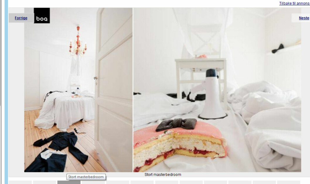 Underkjolen henger fra lysekronen, kaken er plassert i sengen. Foto: Finn.no/boa eiendomsmegling