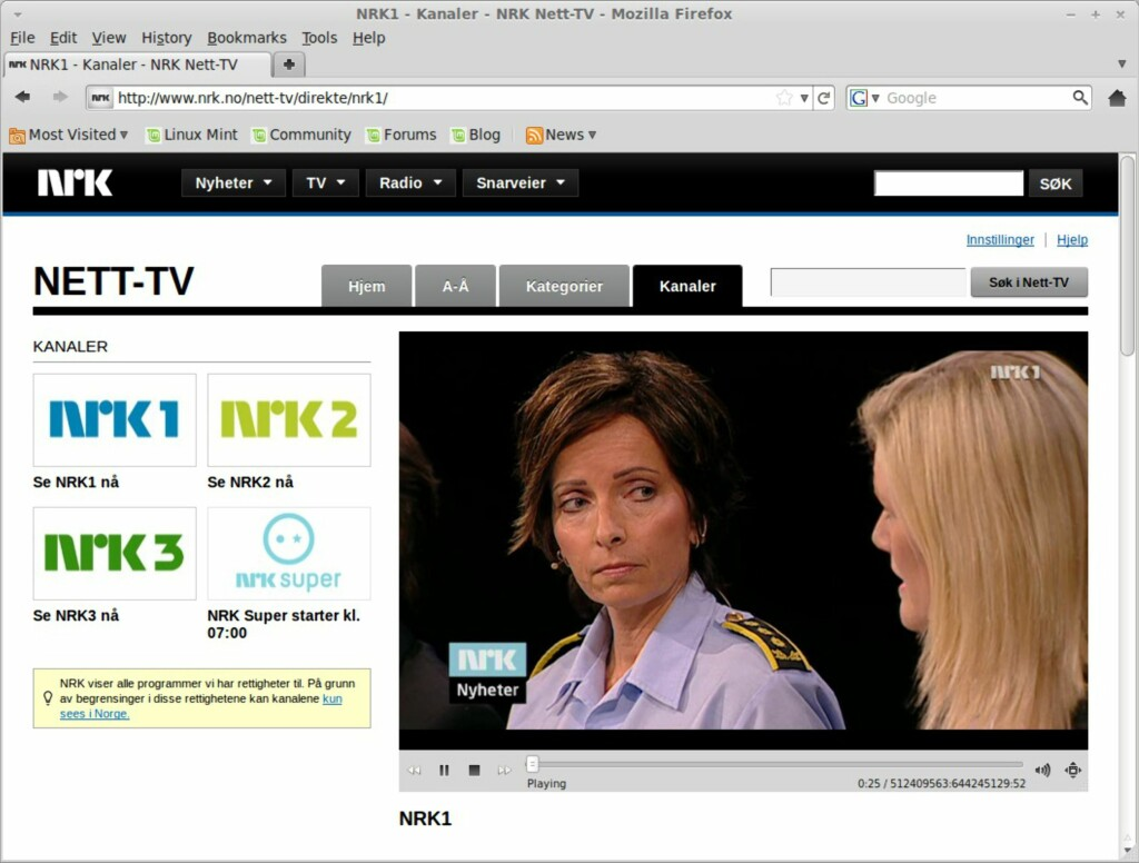 Direktesendt TV på NRK.no
