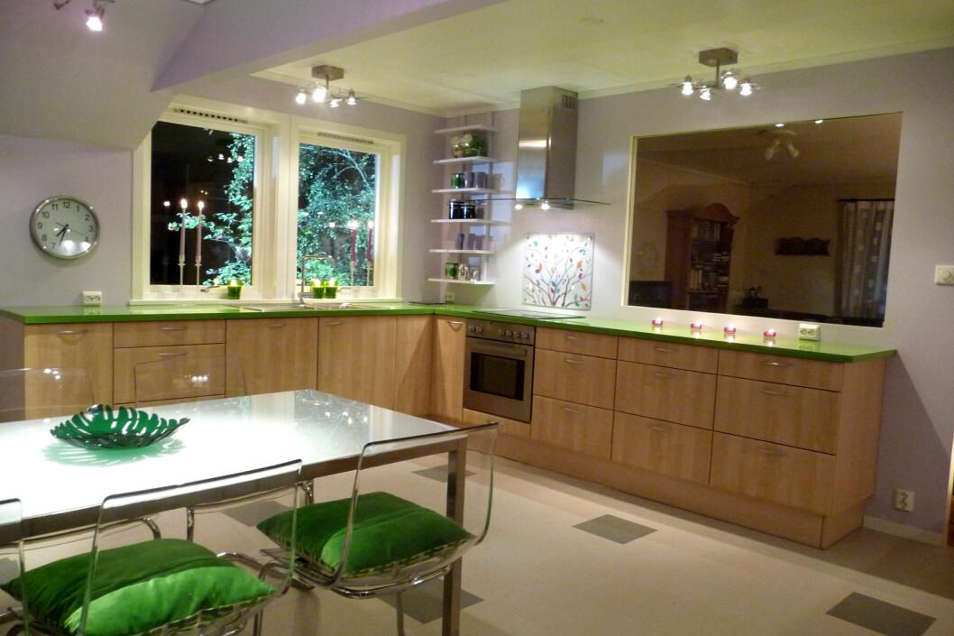 <strong><strong>FREKK STIL:</strong></strong> Sånn kan kjøkkenet bli med god lyssetning. Foto: Calina Yttredal
