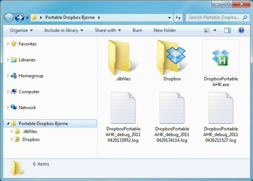 Dropbox-mappa blir liggende på minnepluggen, men kopier blir lagret både på nett og på andre PC-er du eventuelt måtte benytte sammen med Dropbox.
