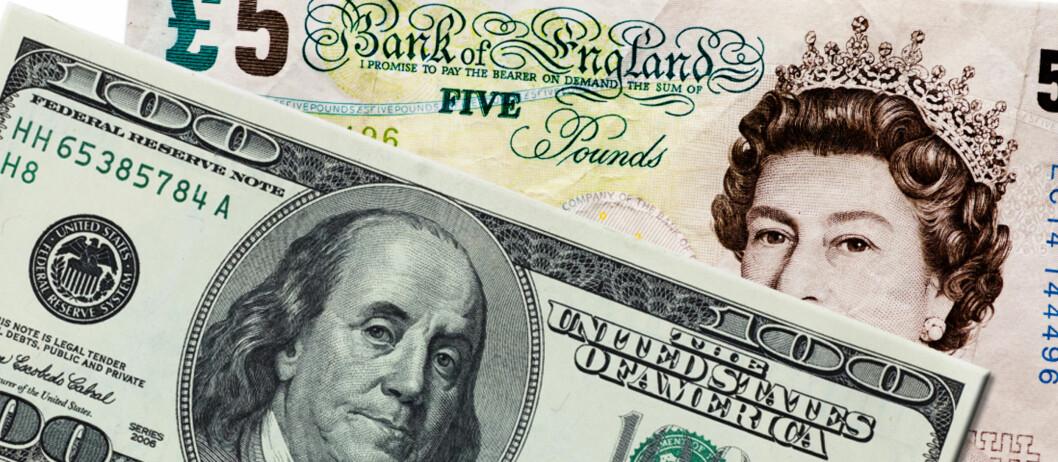 Amerikanske dollar og britiske pund er omtrent 23 prosent billigere nå enn hva som har vært normalt de siste årene. Foto: Colourbox/ montasje: DinSide