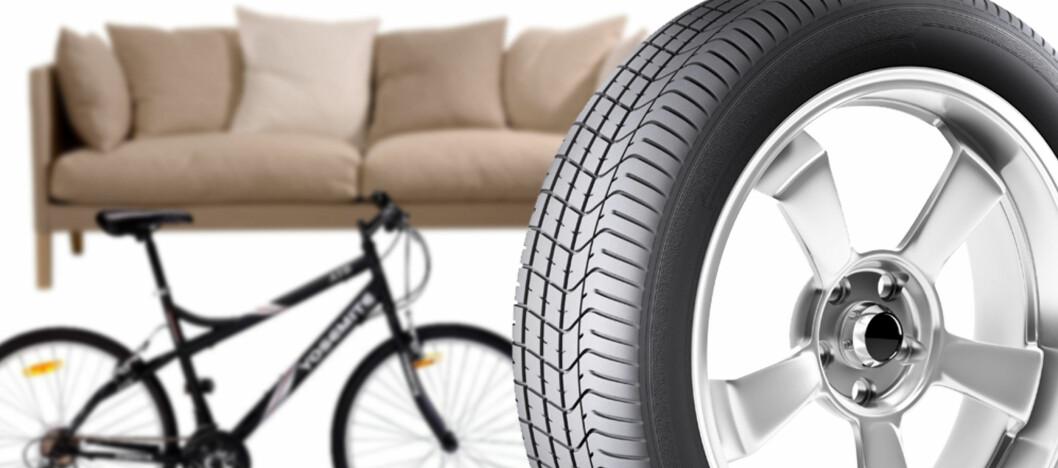 Sofa, sykkel og dekk er noen av produktene som gis bort eller selges i påsken. Foto: DinSide/Colourbox