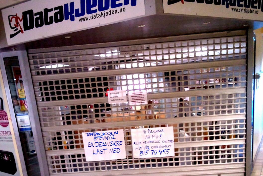 <strong>STENGT:</strong> Butikken på Stovner i Oslo er lagt ned. Ifølge Amentio Datakjeden fordi leiekontrakten gikk ut.  Foto: Privat
