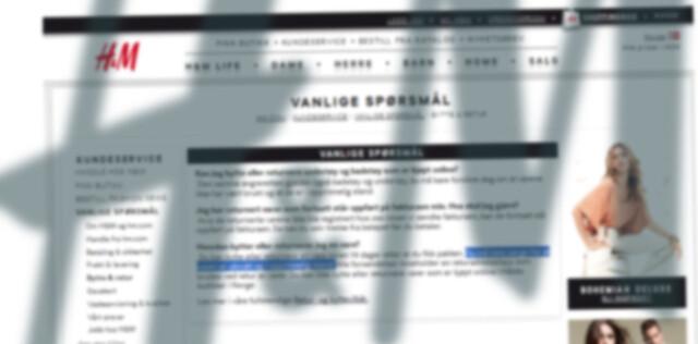 343f0280 I vilkårene på Hennes og Mauritz sine nettsider, står det skrevet at  produkter kjøpt på