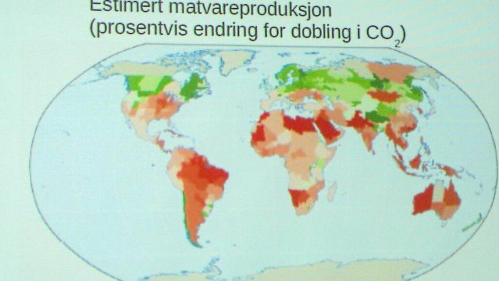 VARMERE: Kartet viser områder av verden hvor det vil bli varmere mot år 2050 som følge av CO2, og hvor matvareproduksjon kan bli skadelidende. Bilde: Powerpoint, MET