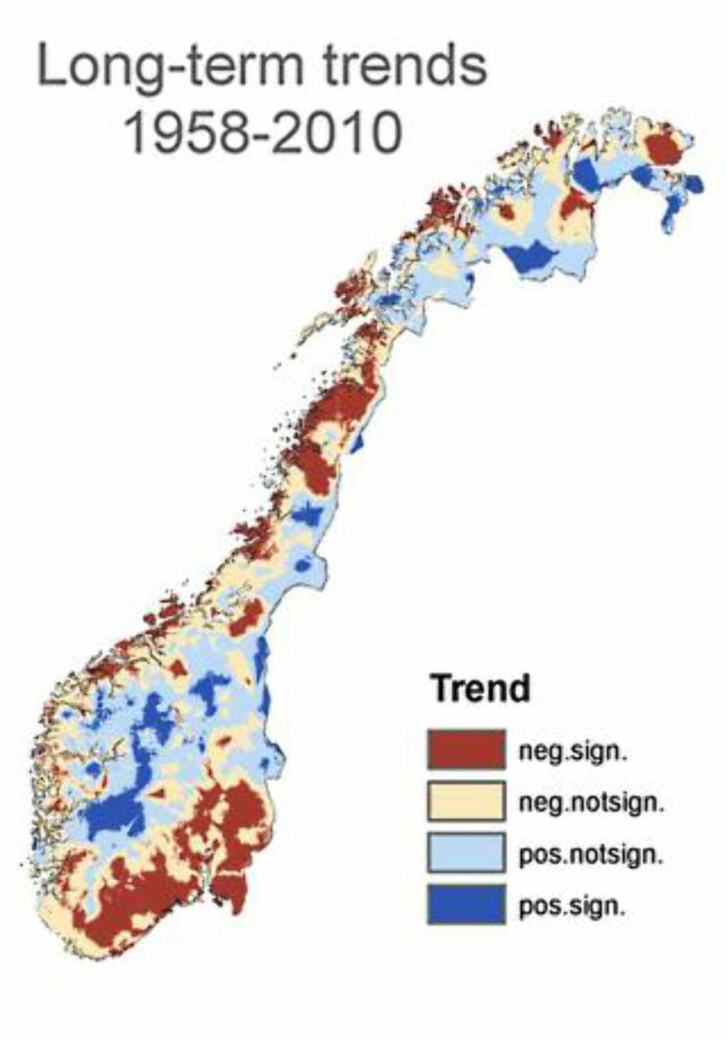 SNØEN SOM FORSVANT: Kartet viser hvor det er blitt mindre og hvor det er blitt mer snø. Grafikk: MET