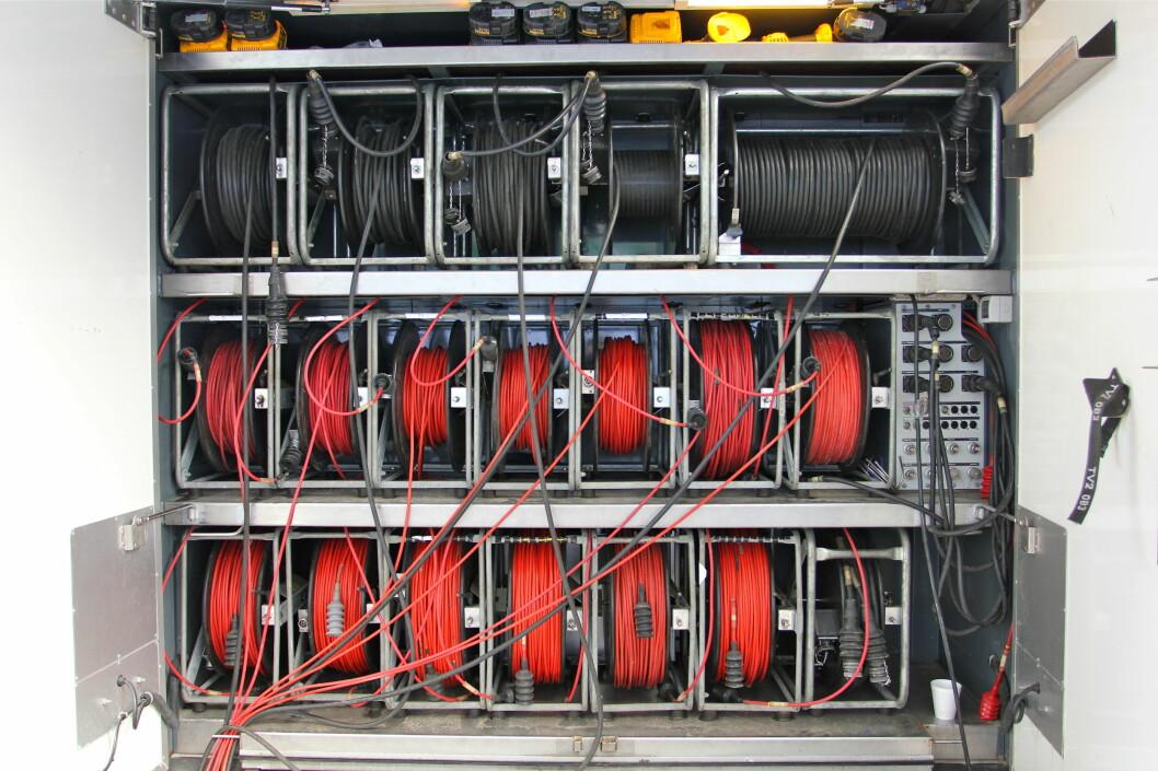 Det mangler ikke på kabelressurser i de tre såkalte OB-bussene som sto parkert utenfor Parken stadion i København under FC København - Chelsea denne uka. Foto: Øivind Idsø