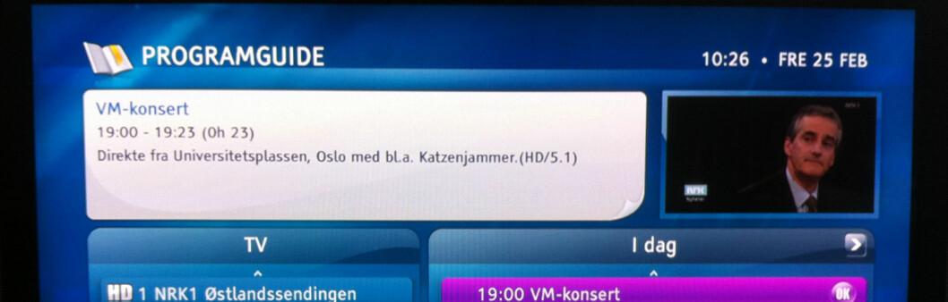 5.1 sendinger er merket i programguiden til RiksTV Foto: Brynjulf Blix