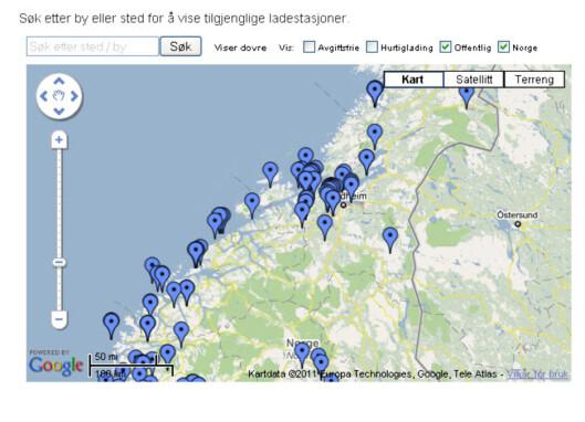 Søkbart google-kart hos Ladestasjoner.no. Foto: Ladestasjoner.no
