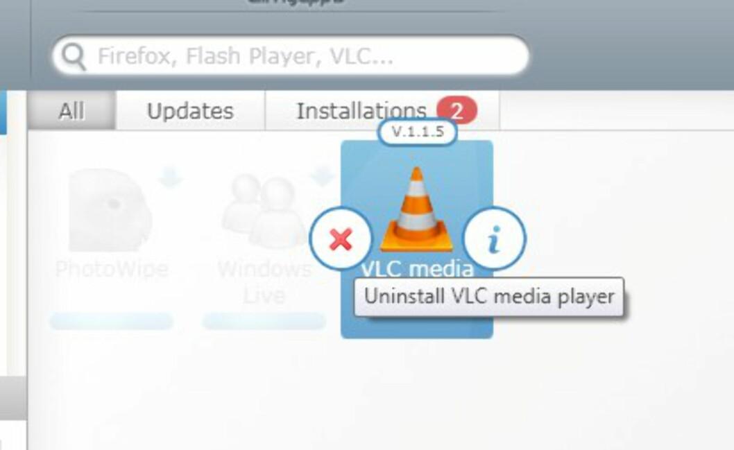 Høyreklikk på en applikasjon du vil avinstallere.
