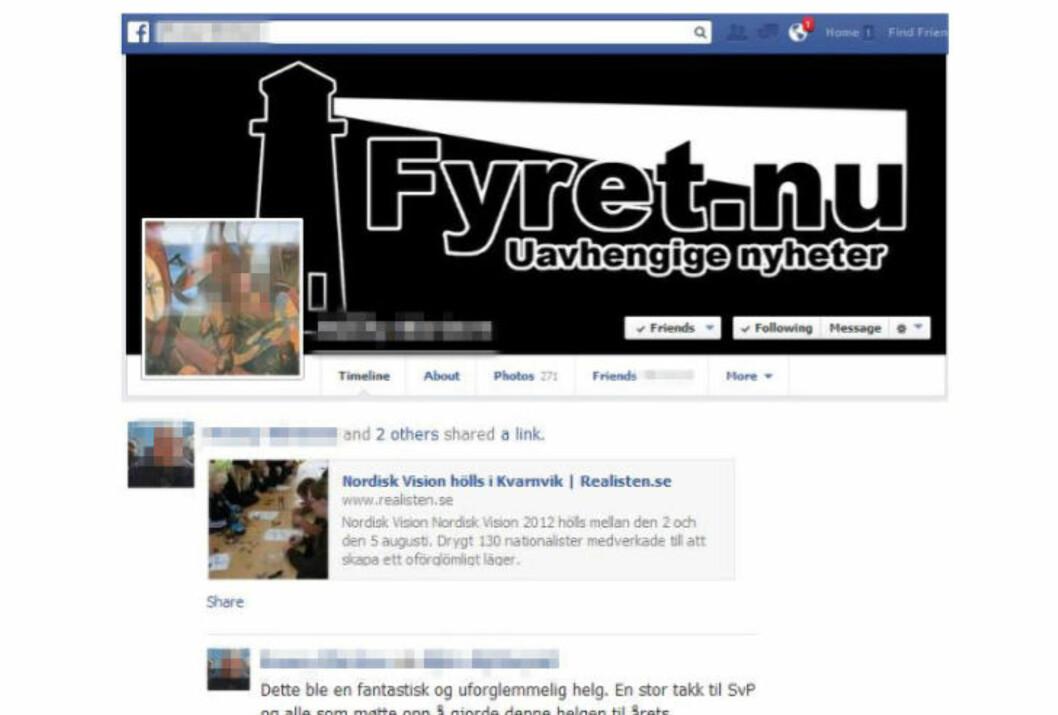 <strong>UTPEKES:</strong> En kjent norsk høyreekstrem fra Vestfold utpekes av Radikal Portal for å være en av Fyret.nu's bakmenn, bl.a. på bakgrunn av Facebook-aktiviteten hans. Den viser også at mannen i 30-åra har nær omgang med SvP. Faksimile: Facebook / Radikal Portal